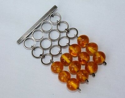 Stunning FISCHLAND stamped sterling silver & baltic amber brooch -MODERNISM