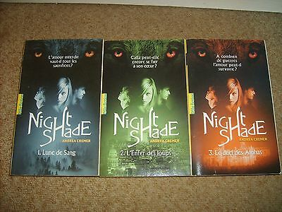 Lot Romans NIGHTSHADE Tomes 1 à 3 -ANDREA CREMER- GALLIMARD Pôle Fiction Poche