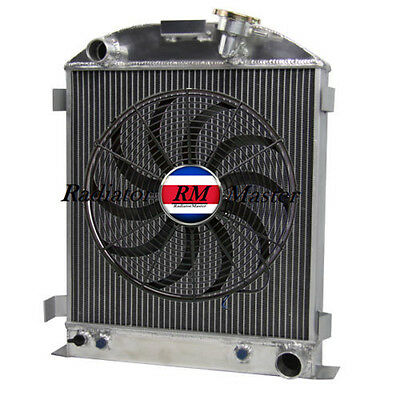 "ALUMINUM RADIATOR FOR 1932 FORD CHOPPED CHEVY ENGINE 3ROW +14""Fan"