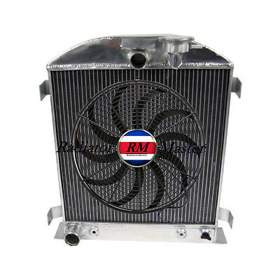 "Aluminum Radiator For 1932 Ford Chopped Ford Engine 3Row +14"" Fan"