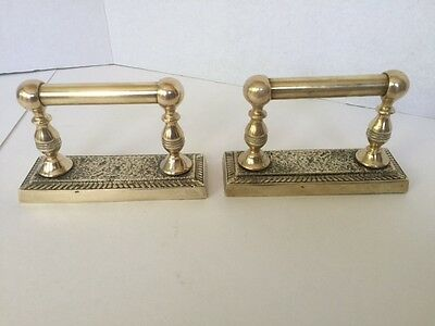 *Vintage/Antique* Pair Of Antique Brass Over Cast Iron Fire Place Dogs/Tool Rest