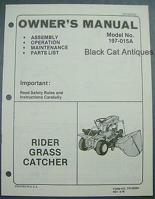 Original 1976 MTD Products Rider Grass Catcher Owner's Manual Model No.197-015A