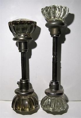 "Set Of 2 Vintage Solid Chrome Crystal Antique Door Knobs 12 Sided 2"" Round"