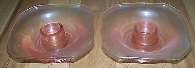 Vintage Pink Depression Glass Square CANDLE Holders 4 inch