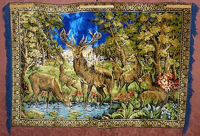 "X-Large Vintage Retro Mid Century Wall Hanging Deer Tapestry - 68"" X 45 1/2"""