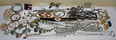 Large Lot Of Vintage Jewelry - Brooches, Earrings, Bracelets - 1 1/2 Pounds