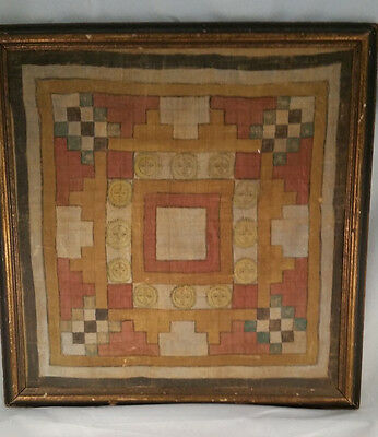 A Rare And Early Indian Painted Cloth Tantric Yantra Diagram Hindu Mongolian