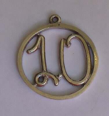 "Vintage ""10"" Sterling Silver Charm"