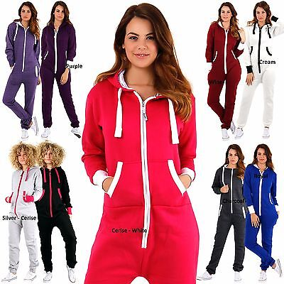 345478a412c Womens Plain Ladies All in One Piece Hooded Zip Up Jumpsuit Playsuit S-XL 8