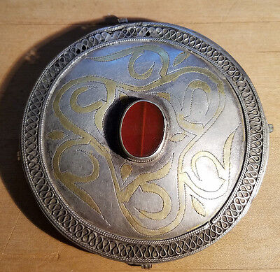 19C Central Asian Silver Turkmen Turkoman Amulet Box Carnelian