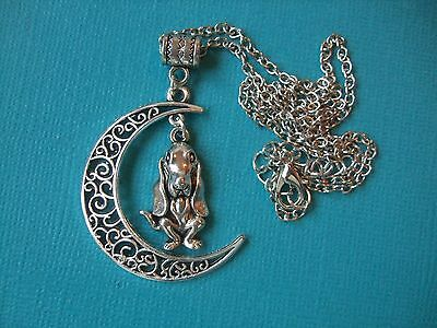 Basset Hound Dog in Moon Necklace & Pendant Dog Metal Alloy Chain Puppy