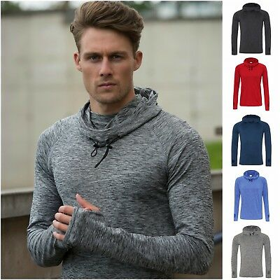 Mens Cowl Neck Long Sleeve Hoodie Running Training Sports Gym Hooded Top T Shirt