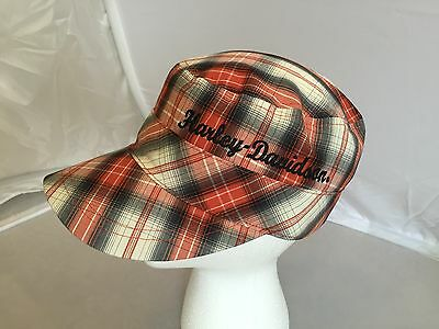 Harley Davidson Scotch Plaid Grey Red White One Size Adjustable Cap Hat EUC