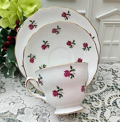 COLCLOUGH BONE CHINA 1960s TRIO CUP SAUCER ROUND PLATE SET - FRAGRANCE PINK ROSE