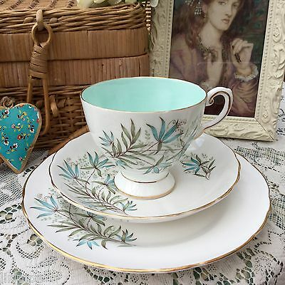 TUSCAN 1950s FINE ENGLISH BONE CHINA TRIO CUP SAUCER PLATE SET BLUE LILY D1809