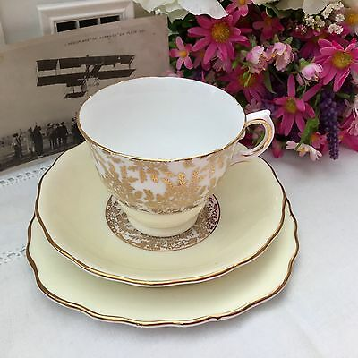 ROYAL VALE BONE CHINA 1950s TRIO CUP SAUCER PLATE SET - YELLOW HARLEQUIN 7391