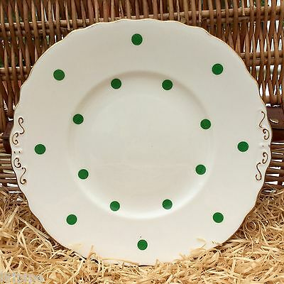 ROYAL VALE BONE CHINA 1950s CAKE PLATE - GREEN POLKA DOTS - GILDED TABS