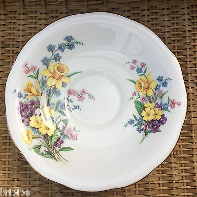 QUEEN ANNE FINE BONE CHINA SAUCER SPRING SONG 1950s - DAFFODILS VIOLETS PRIMULAS