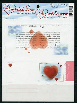 Weeda Canada UL11 VF unused 2000 Valentine's Greeting Lettersheet CV $6+