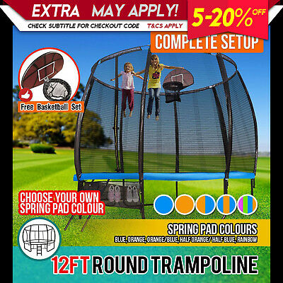 12FT Round Spring Trampoline Free Safety Net Pad Cover Ladder Shoe Storage
