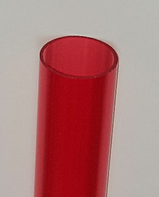 "1 1/4"" OD x 1 1/8"" ID CLEAR RED ACRYLIC PLEXIGLASS LUCITE TUBE DIAMETER 12"" LONG"