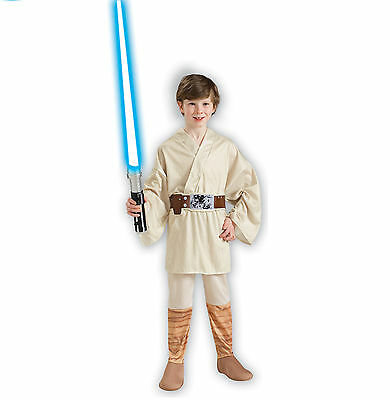 Kids Jedi Master Luke Skywalker Costume Star Wars Dress Up Party Cosplay Outfit