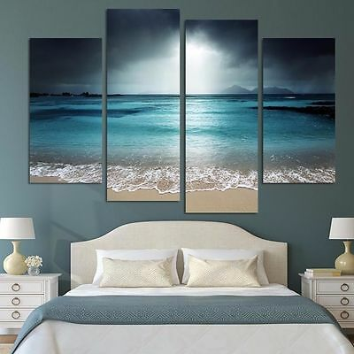 Oil Painting HD Print On Canvas Wall Decor Art Sea Scenery With Beach NO FRAMEFj
