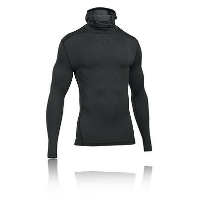 Under Armour CG Armour Mens Grey Compression Hoody Long Sleeve Hoodie Hooded Top
