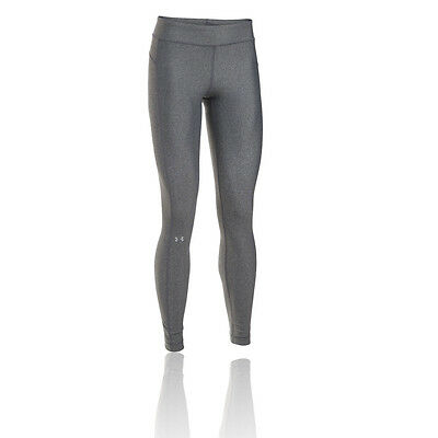 Under Armour HeatGear Womens Grey Compression Running Long Tights Bottoms Pants