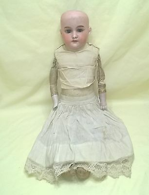 """Antique Bisque Head Leather Body Doll Germany A.m. 370 22"""" As Is $38.99"""
