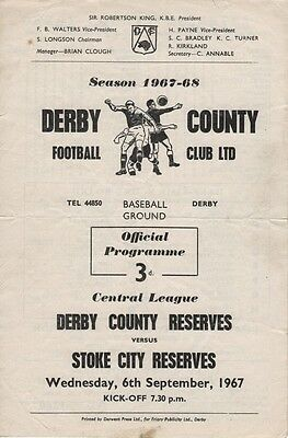 67-68 DERBY COUNTY v Stoke City RESERVES 6.Sep. 1967  programme