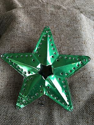 Vintage Christmas Tree Topper Green Punched,Riveted Aluminum STAR,2 Sided Design