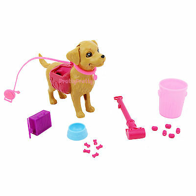 Lovely Dog Movable Pet Feeding Cacation For Barbie Doll Dollhouse Kid Toy Set G