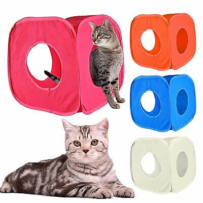 Pop Up Small Pets Cat Kitten Play Cube Tunnel Fun Folds Away Indoor Strong Box