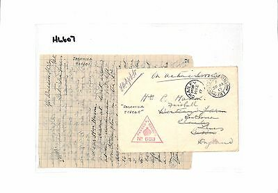1917 WW1 SALONIKA British Forces *FPO 81* Censor Chailey Sussex E&Letter