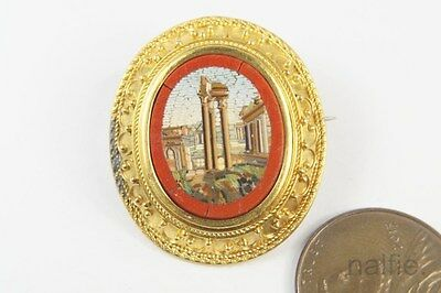 ANTIQUE 15K GOLD TEMPLE OF VESPASIAN MICRO MOSAIC BROOCH c1870