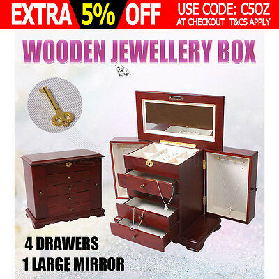 Wooden Jewellery Gift Storage Box Extra Large Watch Case 5 Layers Mirror Wine AU