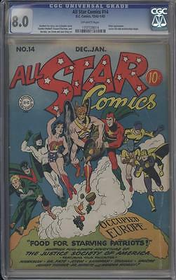 ALL STAR COMICS 14 - CGC 8.0 - Classic Cover - Hitler appears - DC Comics