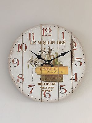 Wooden Wall Clock Olive Shabby French Vintage Chic 33cm Diam Rustic Kitchen Gift