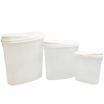 3Pc Nested Food Cereal Storage Dispenser Clear Flip Lid Easy Pour Containers Set