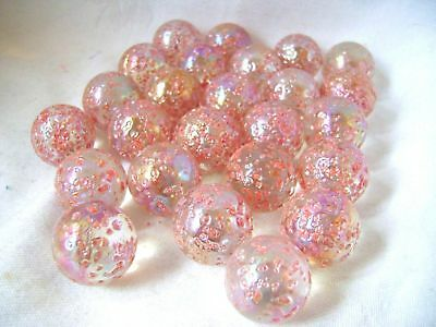 NEW 25 PRINCESS 22mm PINK GLASS MARBLES TRADITIONAL GAME COLLECTORS ITEMS HOM