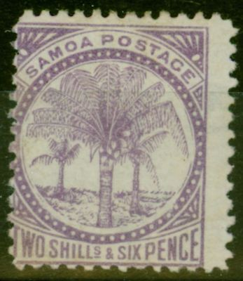 Samoa 1886 2s6d Reddish Lilac SG26 P.12.5 W4a Fine Lightly Mtd Mint