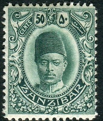 ZANZIBAR-1908-09 50c Blue-Green Sg 232 MOUNTED MINT V14421