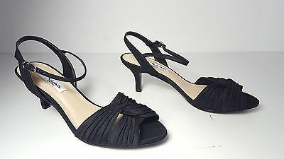 0d705b2668 $85 size 7.5 Nina Black Open Toe Mid Heels Ankle Strap Sandals Womens Shoes  NEW