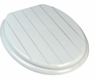 White Wooden Bathroom Toilet Seat. White Groove Design. Fixings Included