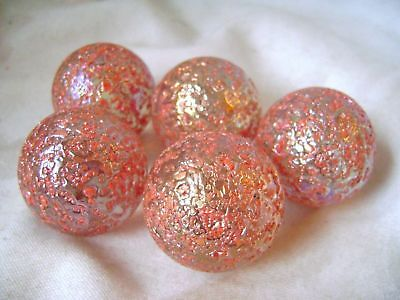 NEW 5 PRINCESS PINK STUDDED 35mm GLASS MARBLES TRADITIONAL GAME COLLECTORS HOM