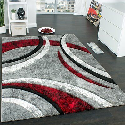 Modern Rug Designer Carpet Contour Cut Striped Model Grey Black And Red Mixture