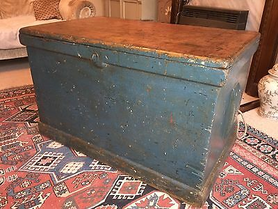 Antique Fitted Pine Carpenters Tool Chest Coffee Table