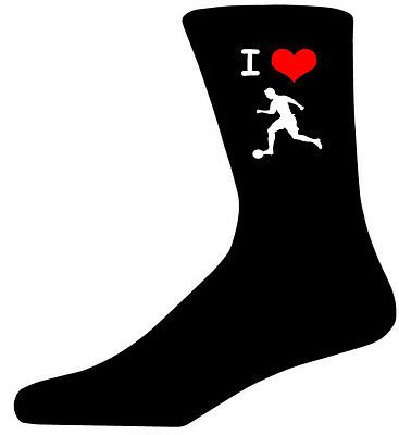 I Love Football Picture Socks. Black Cotton Novelty Socks. Adult UK 5-12