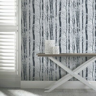 Arthouse Frosted Wood Forest Pattern Trees Glitter Wallpaper 670200 Silver